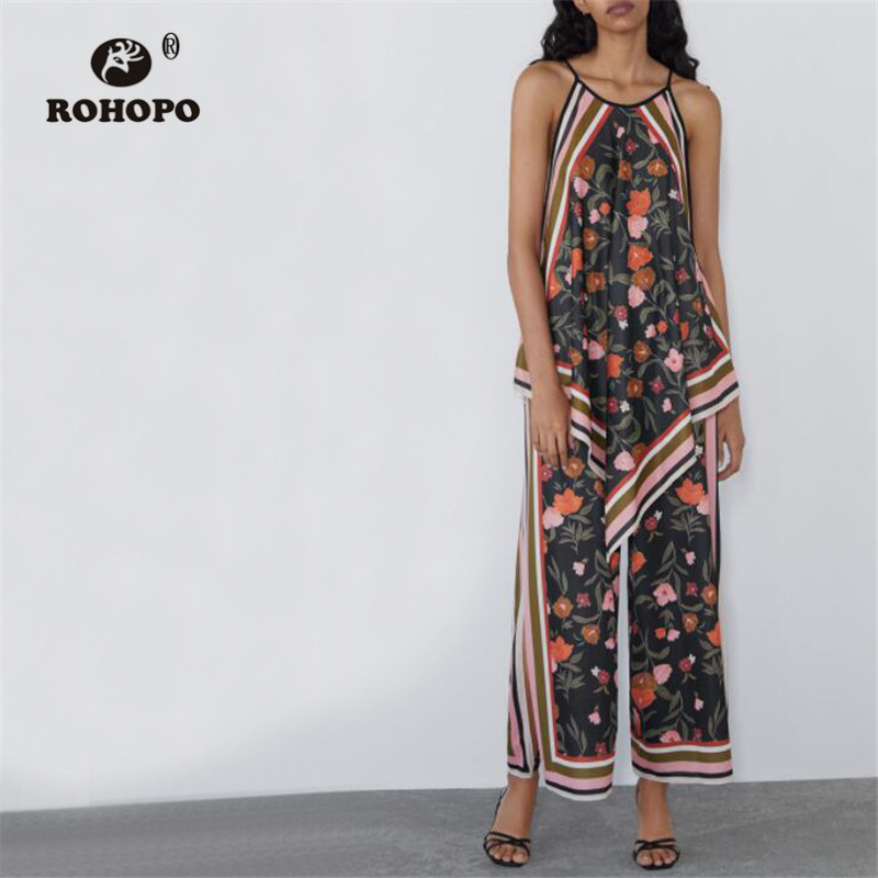 ROHOPO Woman Floral Side Striped Vintage   Wide     Leg     Pant   Iris flower Retro Full Length Trousers #2373