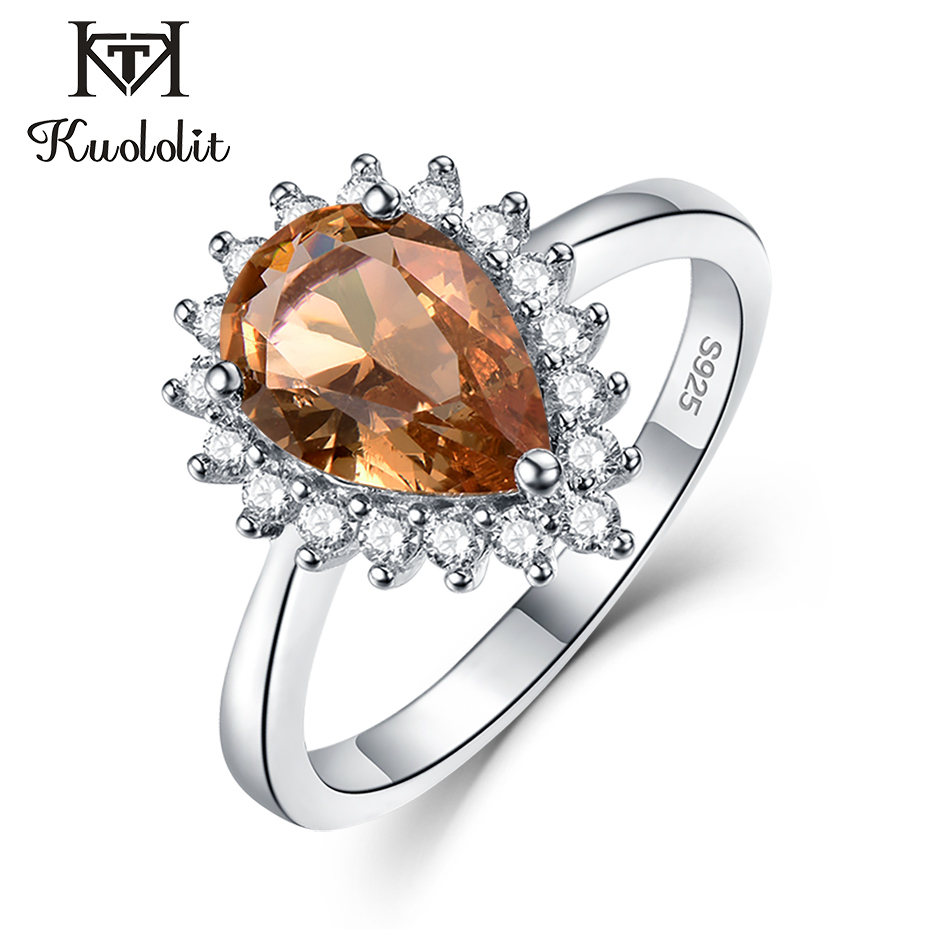 Kuololit Zultanite Gemstone Ring For Women Solid 925 Sterling Silver Created Color Change Water Drop Stone Ring Fine Jewelry