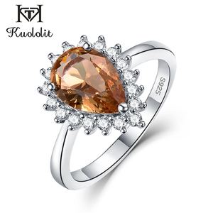 Image 1 - Kuololit Zultanite Gemstone Ring for Women Solid 925 Sterling Silver Created Color Change Water Drop Stone Ring Fine Jewelry