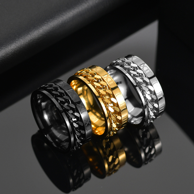 Letdiffery Cool Stainless Steel Rotatable Men Ring High Quality Spinner Chain Punk Women Jewelry for Party Gift 4