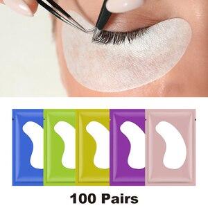 Image 1 - 100 זוגות\מארז חדש נייר תיקוני עפעף תחת רפידות העין לאש ריס הארכת נייר תיקוני עין טיפים מדבקת כורכת איפור כלי