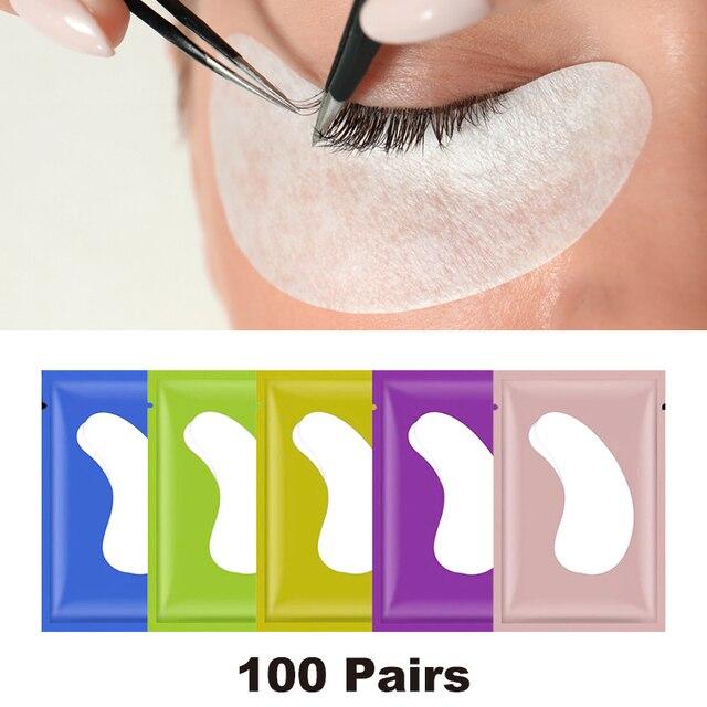 100 זוגות\מארז חדש נייר תיקוני עפעף תחת רפידות העין לאש ריס הארכת נייר תיקוני עין טיפים מדבקת כורכת איפור כלי