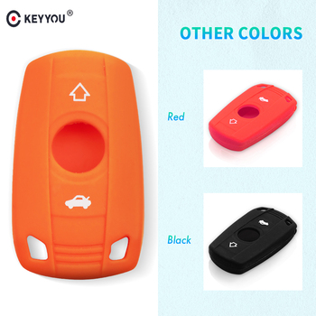 KEYYOU 3 Button Silicone Car Key Case for BMW 1 3 5 6 Series E90 E91 E92 E60 Remote Key Shell Case Smart Key Fob Cover image