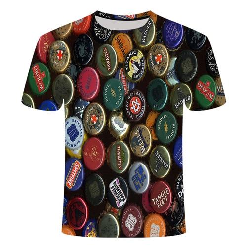 Летняя футболка с 3D принтом в виде пива, покера, для мужчин и женщин, забавная Новинка, футболка с круглым вырезом и коротким рукавом, топы, модные уличные мужские футболки - Цвет: TX012