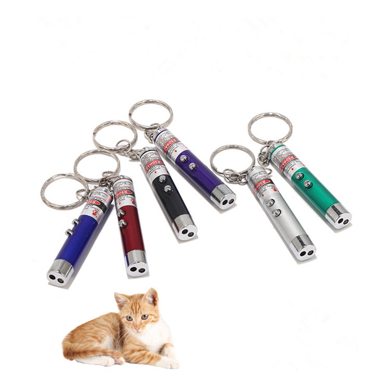2 In1 Red Laser Pointer Pen 5MW Mini Keychain Laser Pointer Pen Teaching Interactive With White LED Light For Childrens Play