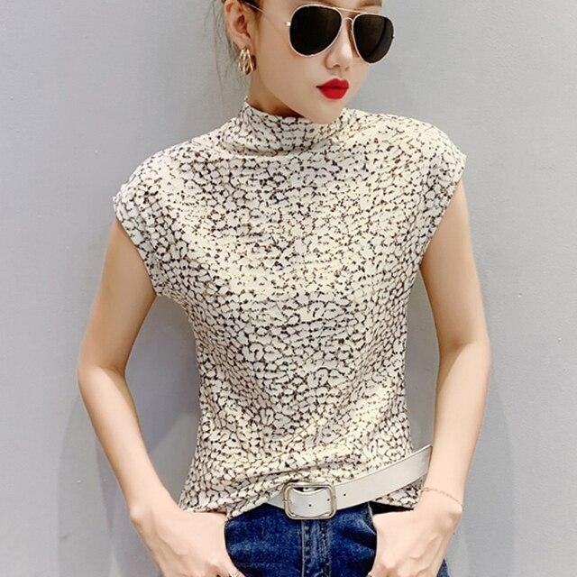 Shintimes-Camiseta con estampado de leopardo para mujer, Camiseta de cuello de tortuga, camiseta de manga corta para mujer, ropa de talla grande 3XL 2020 5