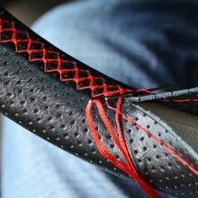 Trança em couro cobertura de volante para megane 3 bmw e46 mitsubishi outlander toyota yaris hyundai i40 bmw e91