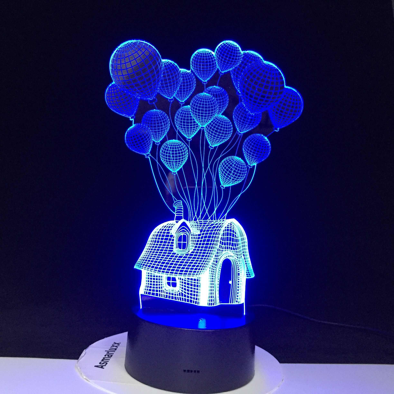 บ้านบอลลูน 3D LED Night Light Shape บรรยากาศสายตาเทศกาลตกแต่งโคมไฟ lamparas อะคริลิค Multicolor สำหรับตกแต่งบ้าน