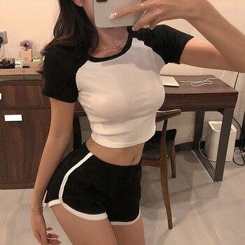 DICLOUD Splice koszulki w stylu Casual damskie proste O Neck z krótkim rękawem krótkie topy damskie modne getry Sexy biały czarny T Shirt kobieta