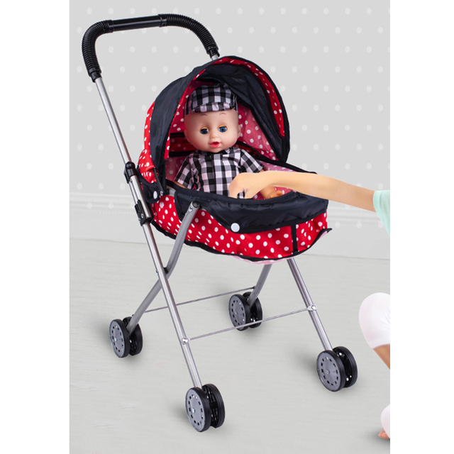 Simulation Foldable Dotted Baby Doll Stroller With Hood Kids Playhouse Toys 3