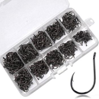 цена на 100Pcs Strong Carbon Steel Saltwater Freshwater Wide Crank Offset Sharp Barbed Carp Fishing Circle Jig Hooks For Soft Worm Lure