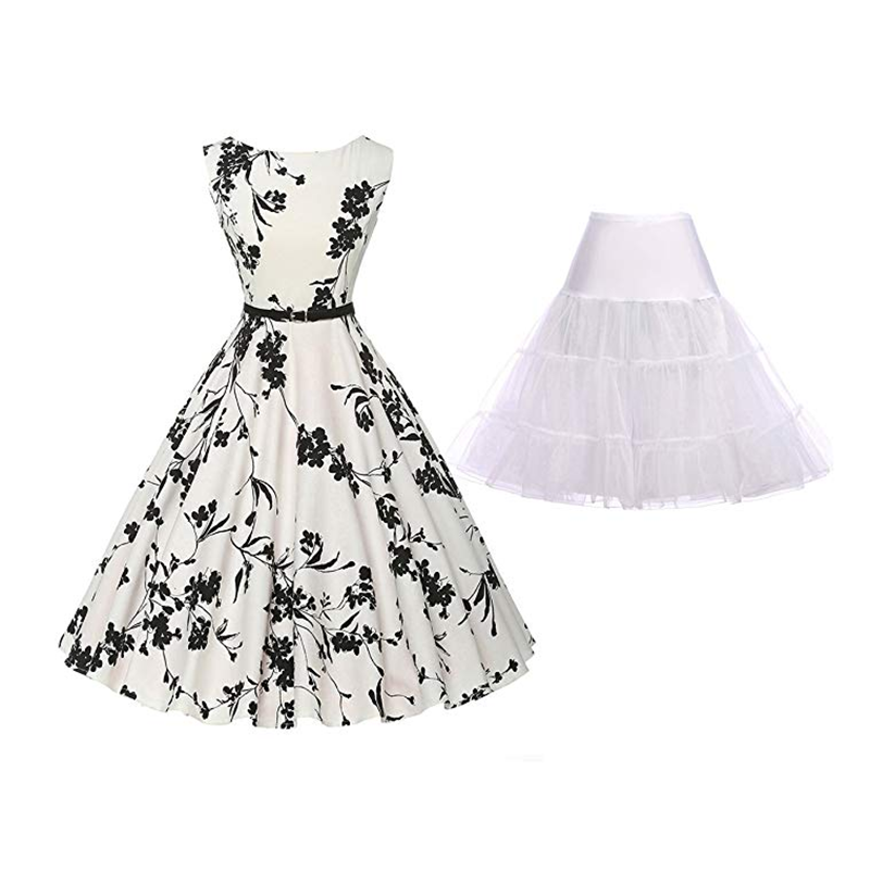 Summer Hot Ladies Floral Pleated Dress 50s Retro Elegant Style Round Neck Sleeveless Print Dress Banquet Party Petticoat