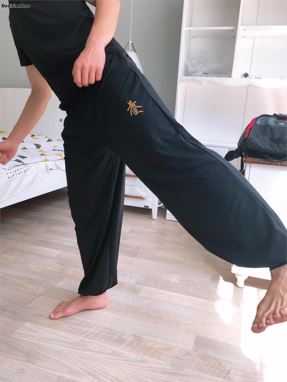 2019 High Quality Unisex Cotton Tai Taiji Pants Kung Fu Martial Arts Trousers Taichi Wushu Bloomers Black