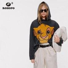 ROHOPO Hooded Cartoon Lion Animal Black Pullover Hoodies Autumn Ladies Baggy Streetwear Sweatshirt Top Outwear #2266