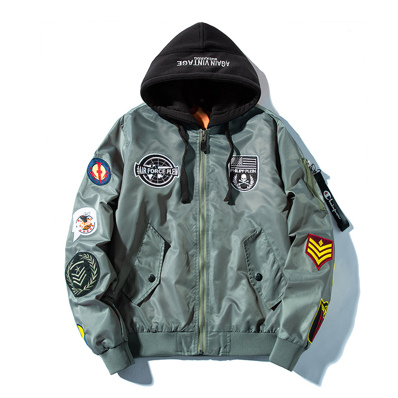 2020Winter Bomber Jacket Men's Fashion Badges Embroidery Jacket Military Thick Baseball Collar Coat For Male XA06