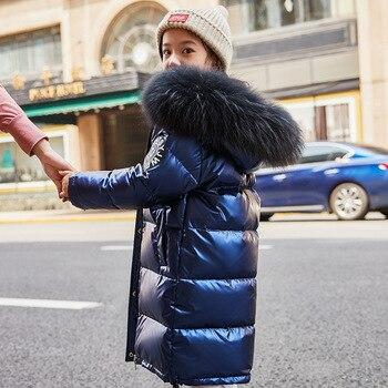 Dollplus 2019 Fashion Girl Down Jacket Warm Baby Children Down Parkas Coat Fur Kid Teenager Thickening Outerwear for Cold Winter
