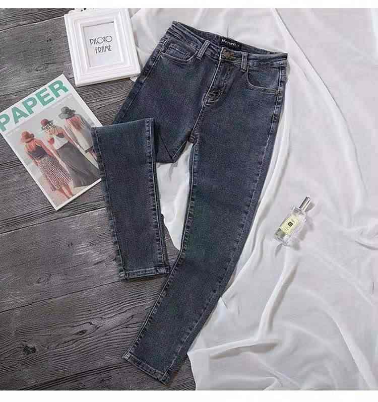 2020 new スキニージーンズ女性ハイウエストグレーブルー韓国のファッションデニム鉛筆のズボンの夏高弾性ジーンズ女性