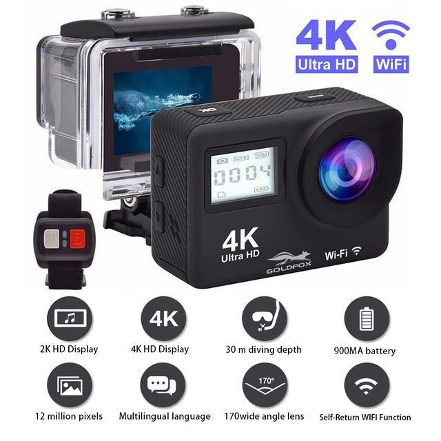 Ultra HD 4K Action Camera WiFi Remote Control Sports Video Camcorder DVR DV Go Waterproof Pro Camera 2 inch Touch Screen Cam