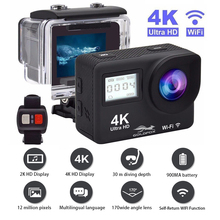 Экшн камера Ultra HD 4K, Wi Fi, дистанционное управление, Спортивная видеокамера, DVR DV Go, водонепроницаемая профессиональная камера, 2 дюймовый сенсорный экран, камера