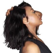 Perruque cheveux naturels indiens Luffy, cheveux courts, avec frontal en dentelle, naturelle ondulée, style Bob, Remy, 4x4, 13x6, pre plucked, pour femmes noires