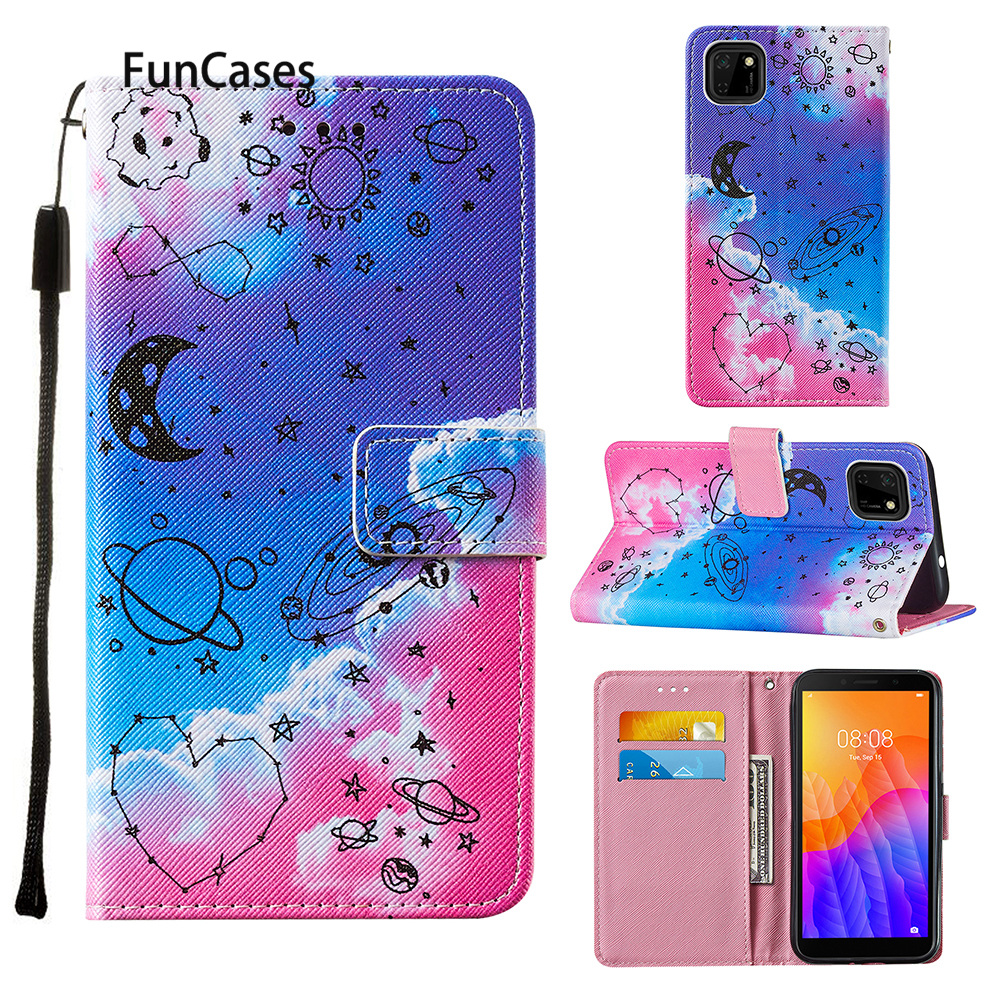 Geometry PU Leather Wallet Book Phone Shell Case For para Huawei Y6P 2020 sFor Huawei cover P Smart 2020 Y5P Etui Cell Phone Bag(China)