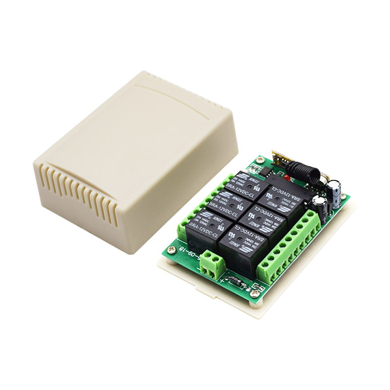 Купить с кэшбэком 12V 6CH Remote Control Switch RF Wireless Transmitter Receiver Learn Code 8 Kinds Work Way 433Nhz Max 12V DC