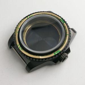 Image 5 - 最新のホット 40 ミリメートルパーニスステンレスブラック pvd ケース硬化ミネラルサファイアガラスフィット 2828 2836 miyota 82 運動メンズ時計ケース