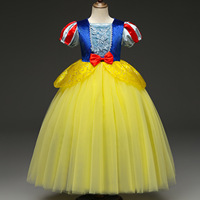 2019 Halloween Kids Party Costume Clothes Children Girls Show Dress Snow White Dress Mesh Puff Sleeves Princess Dress
