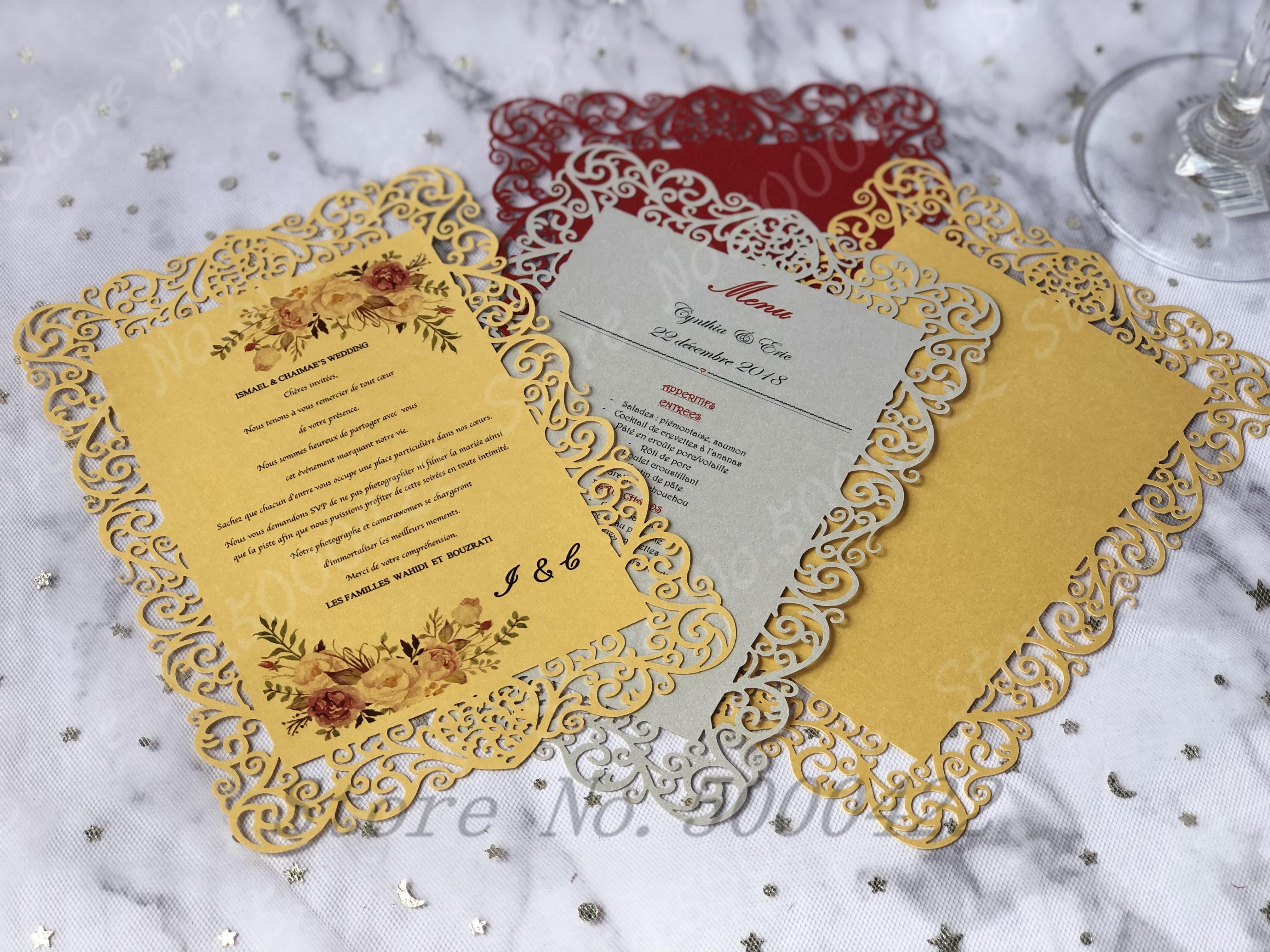 50pcs laser cutting menu card paper restaurant banquet menu card save date rsvp wedding invitation card event card