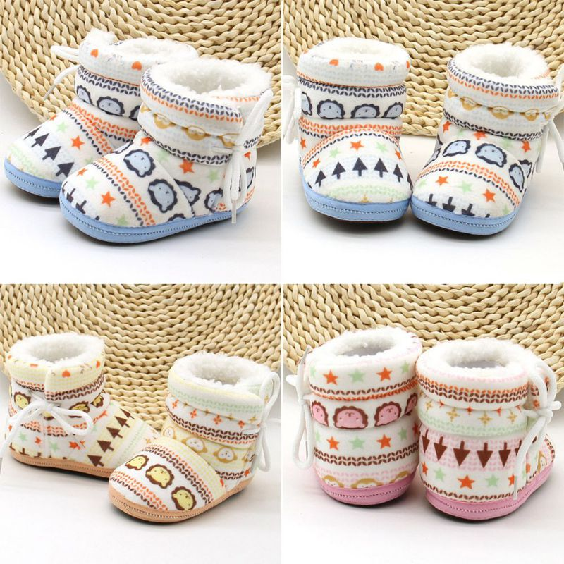 Windproof Mid- Calf Cross-tied Flat With Baby Boy Girl Boots Winter Warm Cotton Fabric Fur Snow   ShoesNon-slip Soft Sole Shoe