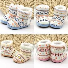 Windproof Mid- Calf Cross-tied Flat with Baby Boy Girl Boots Winter Warm Cotton Fabric Fur Snow ShoesNon-slip Soft Sole Shoe(China)