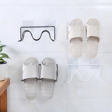 Double Layer Shoes Rack Wall Mount Slippers Hanging Shelf Slipper Storage Organizer with Non-trace Stick