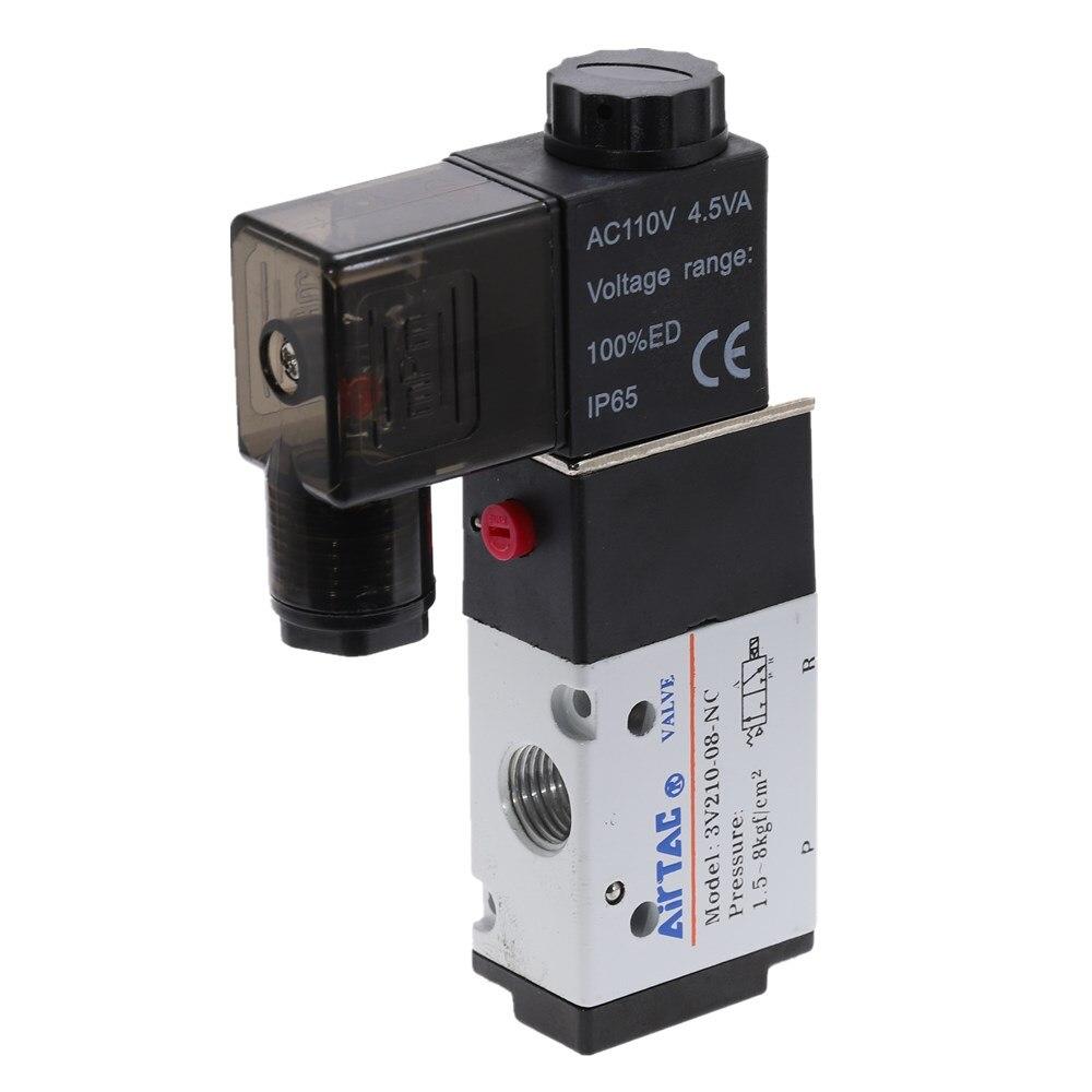 110V 2 Position AC MettleAir 3V210-08-AC110-1PK Pneumatic Valve 3 Way Solenoid 1//4