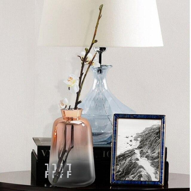 New Gradient Golden Glass Vase Nordic Electroplated Flower Vases For Home Decor Dried Flower Bottle Bar Restaurant Decoration 4