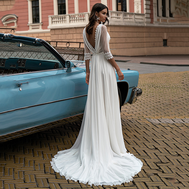 Fashion Boho Slit Chiffon Wedding Dress 2021 High Quality V-Neck Sweep Train Three Quarter Backless Bridal Gowns 6