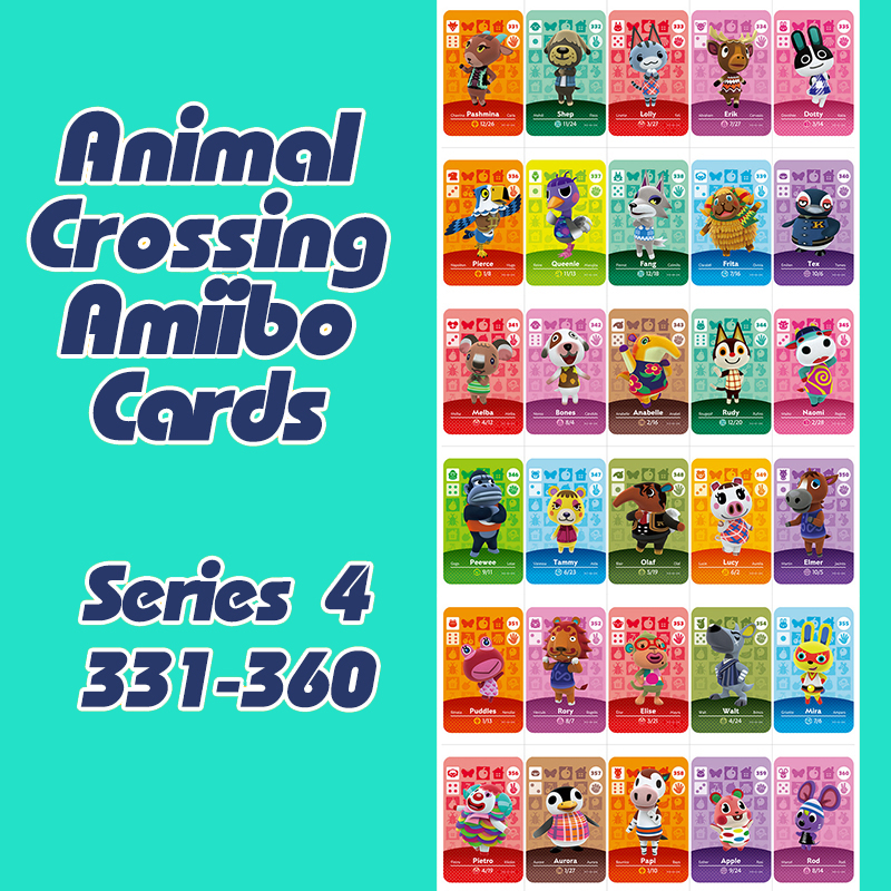 1PCS Animal Crossing New Horizons Amiibo Card For NS Switch 3DS Game Lobo Card Set Series 4 (331-360)