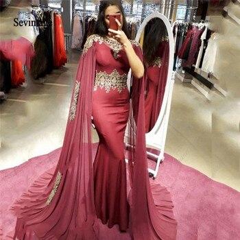 Sevintage Burgundy Plus Size Muslim Evening Dresses 2020 Watteau Train Gold Lace Mermaid Arabic Prom Vestidos De Fiesta
