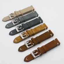 Camurça couro pulseira de relógio 18mm 20mm 22mm 24mm marrom café pulseira artesanal costura substituição