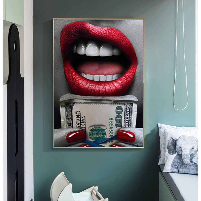 Selflessly Canvas Art Labbra Rosse Con Pistola Poster E Stampe Immagini Murali Per Soggiorno Modern Wall Art Pittura Decorativa Pittura E Calligrafia Aliexpress