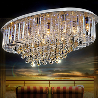 Large Elegant and Luxurious Oval Crystal Living Room Lamp High Quality for Hotel Lobby Home Decoration