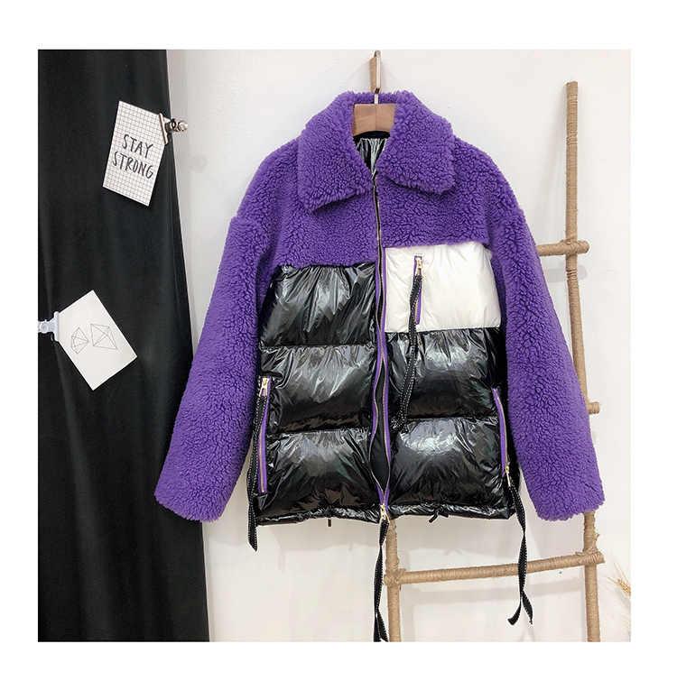 ダウンジャケットの冬の女性チャケータ mujer 特大コート自然リアル羊の毛皮ショートパーカー女性プラスサイズ abrigo mujer