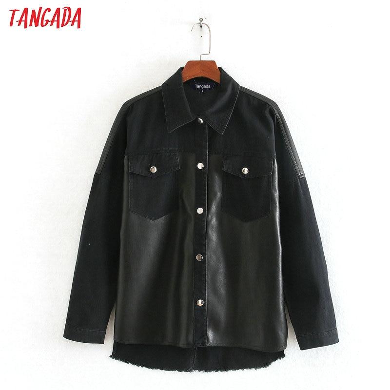 Tangada Women Fashion Black Faux Leather Patchwork Oversized Jackets Tassels 2020 Boy Friend Style Coat Tops CE134
