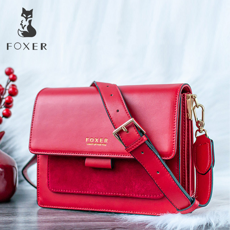 FOXER Women Crossbody Bag Shoulder Bags Shoulder Bag Purse Lady Flap Female Messenger Bag Valentine's Day Present Gift