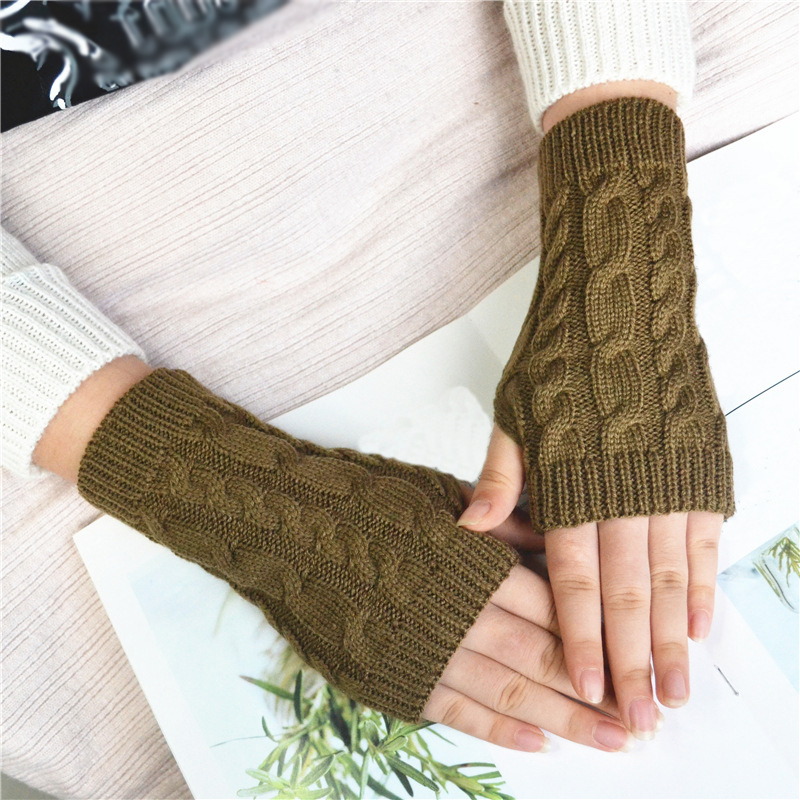 Hot Sale Women Wool Mitten Warm Fingerless Gloves Hand Warmer Winter Women Arm Crochet Knitting Faux Gloves Gants Femme Gloves