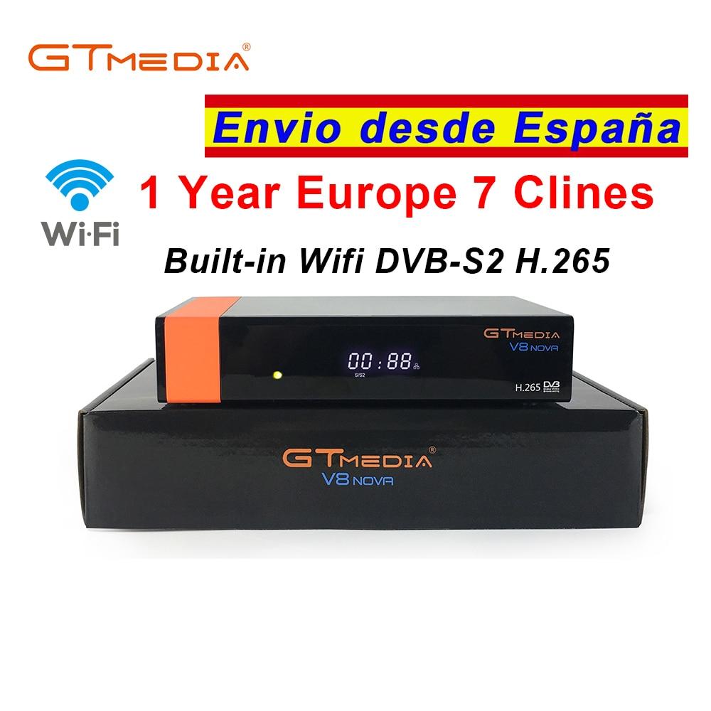 Satellite TV Receiver Gtmedia V8 Nova Built In Wifi+1 Year Cccam 7 Clines For Europe Spain DVB-S2 Full HD H.265 Lnb Sat Decoder