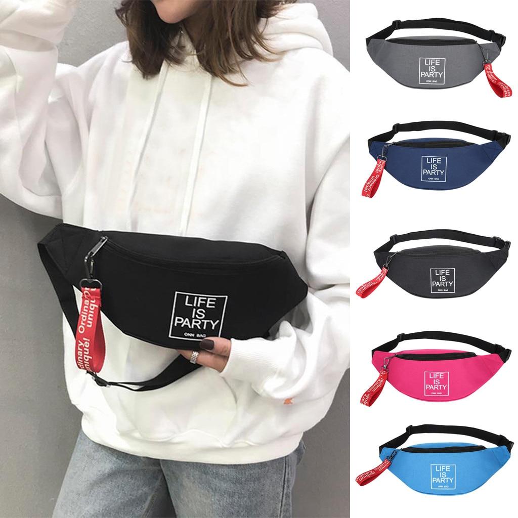 Men Women Canvas Waist Bag Letter Shoulder Messenger Crossbody Chest Bags Packs