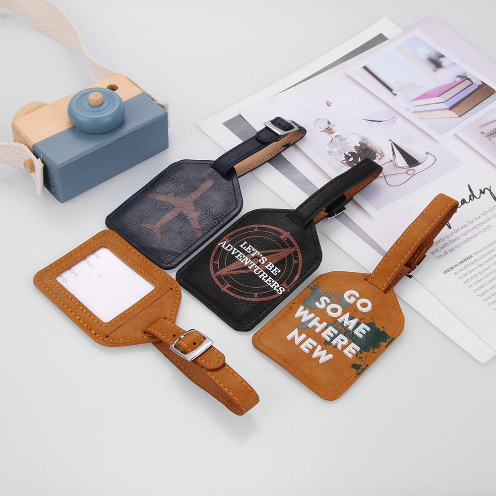1PC Leather Suitcase Luggage Tag Label Unisex Bag Pendant Handbag Portable Travel Accessories Fashion Name ID Address Tags 2020