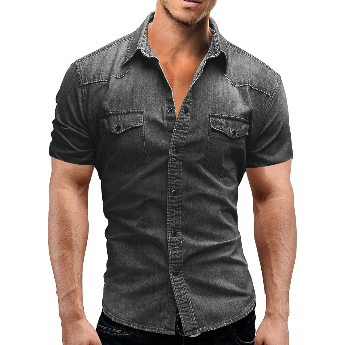 Men Denim Short Sleeve Soft Cotton Elastic Jeans Shirt Men Men's Clothings Men's Shirts Men's Tops