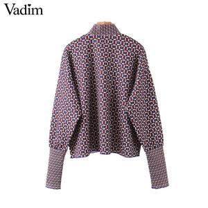 Image 2 - Vadim Vrouwen Chic Oversized Print Blouse Lantaarn Mouw Vintage Overhemd Vrouwelijke Stijlvolle Office Wear Chic Tops Blusas LB792