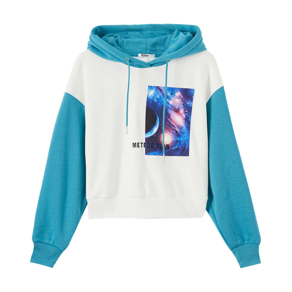 Metersbonwe 여성용 후드 티 패널 컬러 걸스 Streetwear 캐주얼 운동복 New Hip Pop Hoodies 학생 후드